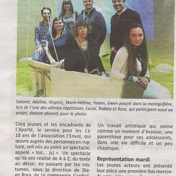 Article télégramme specatcle aparté mars 2016