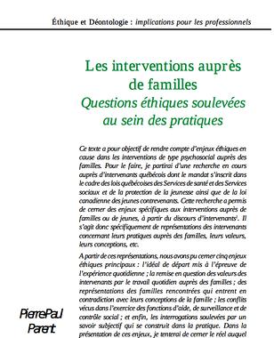 cahiers de l actif : les interventions aupres de familles